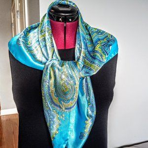 Vintage Turquoise Blue Paisley Square Scarf